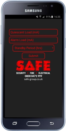 Fire alarm load test calculator app